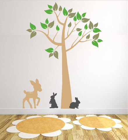 Kid's Room Wall Mural with Tree, Colorful Leaves, Deer, and Bunnies