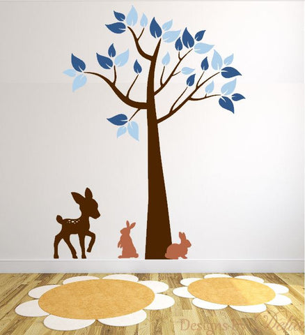 Wall Decal for Play Room with Deer, Tree, and Bunnies