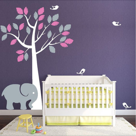 Nursery Jungle Tree with Elephant and Birds for Children