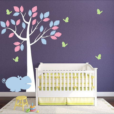 Wall Nursery Tree with Hippo and Butterflies for Children