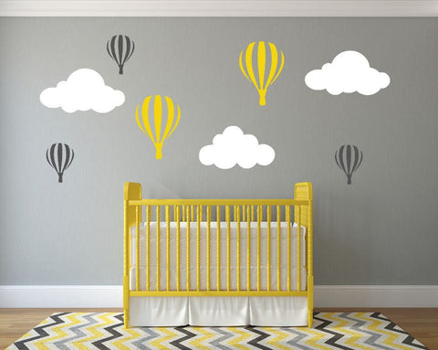 Nursery Wall Decal With Hot Air Balloons And Clouds Choose Colors - Nursery wall decals clouds