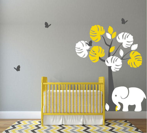 Nursery Wall Decal, Children's Room Vinyl Sticker, Elephant and Butterflies