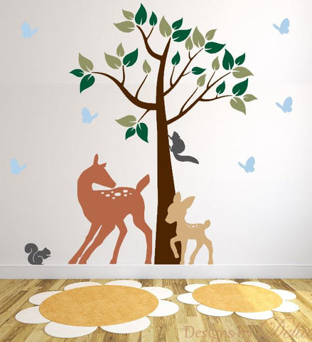 Nursery Wall Decal with Deer, Baby Deer, Butterflies, and Squirrels