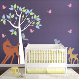 Baby Room Wall Decal with Colorful Tree and Forest Animals