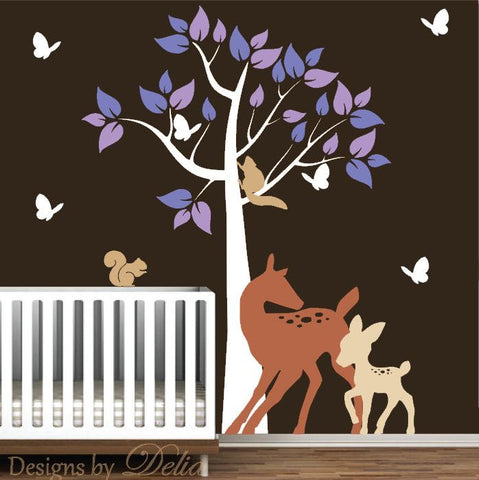 Nursery Tree Decal with Deer, Butterflies, and Squirrels
