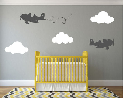 Airplanes Nursery Wall Decal with Fluffy Clouds
