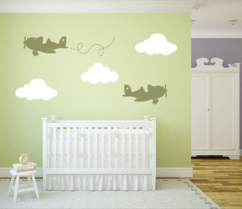 Nursery Planes and Clouds Wall Decal