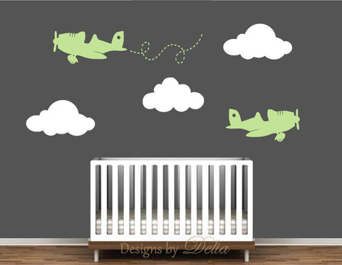 Nursery Decal Mural with Planes and Clouds for Boy or Girl Room