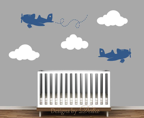 Wall Mural with Airplanes and Fluffy Could Decals for Nursery