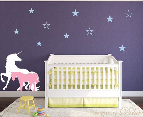 Unicorns Nursery Wall Decal with Stars