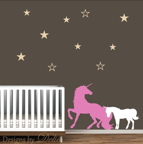 Decals for Nursery with Unicorn and Baby