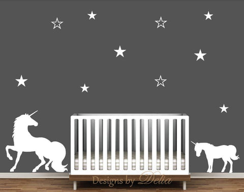 Nursery Wall Decal with Beautiful Unicorns and Stars