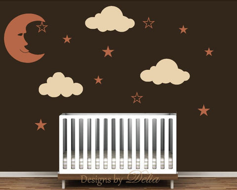 Stars and Clouds Wall Decal with Smiling Crescent Moon for Nursery