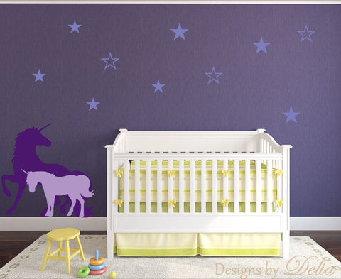 Baby Room Wall Decal with Unicorns and Stars