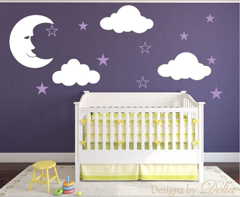 Nursery Decal with Fluffy Clouds, Man on the Moon, and Cute Stars