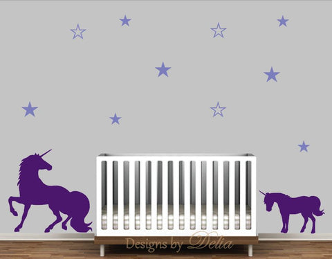 Nursery Room Stickers for Wall with Unicorn and Baby Unicorn