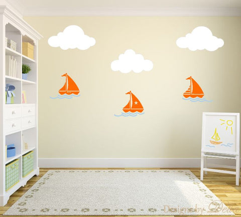 Wall Decal for Kid's Room with Sailboats and Clouds