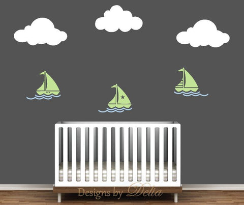Sailboats Wall Decal with Waves and Clouds