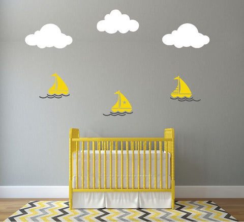 Nursery Wall Decal with Sailboats and Clouds