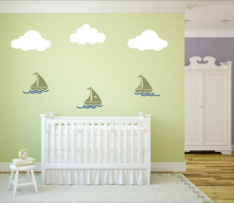 Sailboats and Clouds Wall Decal