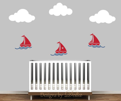 Nursery Decal for Wall with Sailboats, Waves, and Clouds