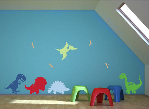 Wall Mural for Kid's Room with Cute Dinosaurs