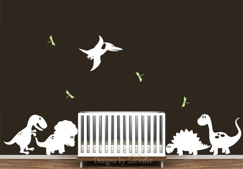 Wall Decal for Nursery with Cute Dinosaurs