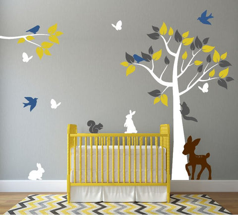 Nursery Tree Decal with Forest Animals and Branch