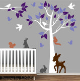 Colorful Tree Nursery Decal with Forest Animals and Branch