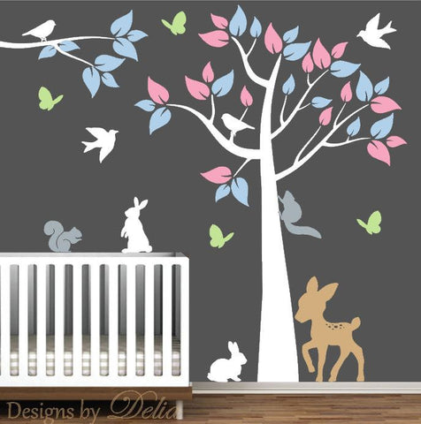 Nursery Wall Decal with Tree, Branch, Colorful leaves and Forest Animals
