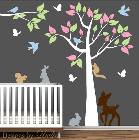 Children's Room Tree Decal with Deer, Bunnies, Squirrels, Birds, Butterflies, and Tree Branch