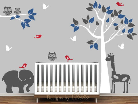 Jungles Animals Wall Mural with Tree, Elephant and Giraffe