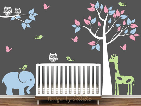Custom Nursery Wall Decal with Animals, Tree, and Branch (Choose Colors)
