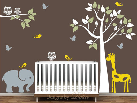 Wall Decal for Children's Room with Tree, Giraffe, Elephant, Birds, Owls, and Butterflies