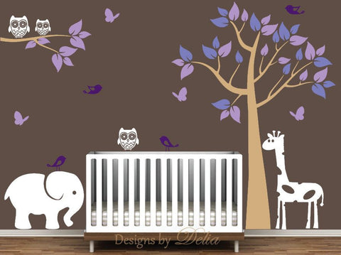 Nursery Tree Decal with Jungle Animals for Girl or Boy Nursery