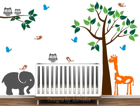 Baby Room Vinyl Wall Decals with Colorful Tree, Tree Branch, and Animals