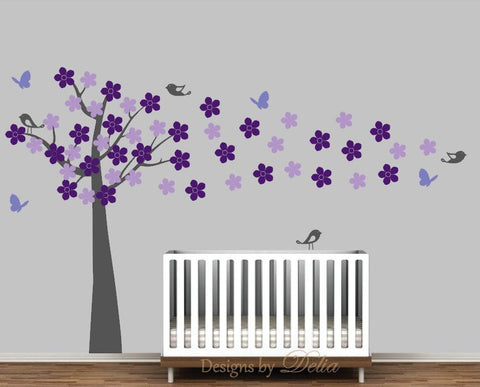 Flower Tree Decal with Birds and Butterflies