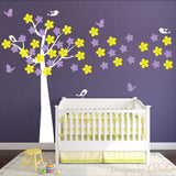 Nursery Wall Decal with Beautiful Tree, Butterflies, and Birds