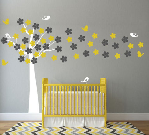 Wall Decal with Tree, Flowers, Brids, and Butterflies for Nursery