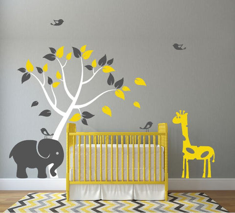 Nursery Wall Decal with Tree, Elephant, Giraffe and Birds