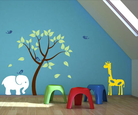 Elephant and Giraffe Wall Decal with Colorful Tree and Birds