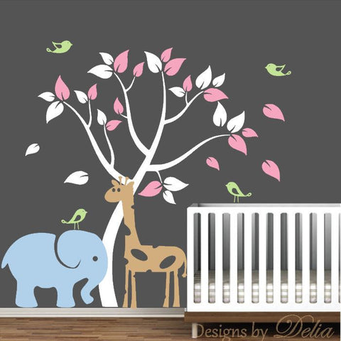 Wall Decal with Jungle Animals and Tree for Baby Room