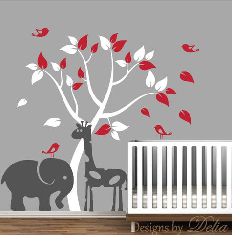 Children's Room Wall Decal with Tree, Elephant, Giraffe, and Birds