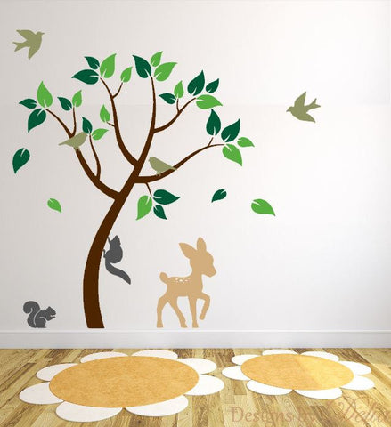 Wall Tree Decal for Kids Room with Forest Animals