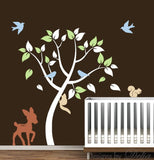 Nursery Decal with Forest Tree, Deer, Birds, and Squirrels