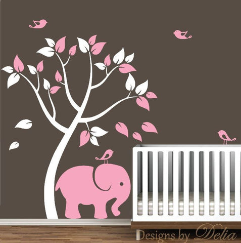 Wall Decal with Elephant, Colorful Tree, and Birds