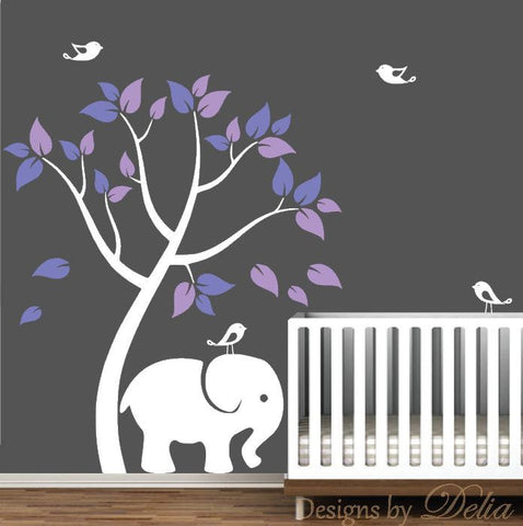 Children's Wall Tree Decal with Colorful Leaves, Birds, and Elephant (Choose Colors)
