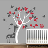 Tree Wall Decal with Owls, Butterflies, and Giraffe