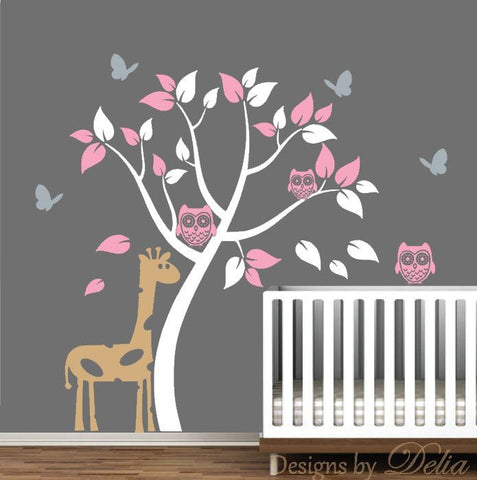 Nursery Removable Wall Decals with Tree, Owls, Butterflies, and Giraffe