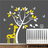 Colorful Wall Decal with Giraffe and Tree (Choose Colors)